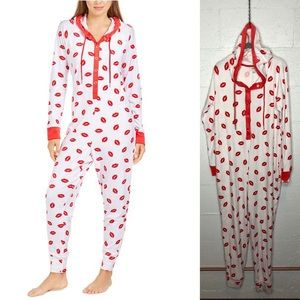 Jenni Hooded One Piece Printed Pajama, 💋 💋